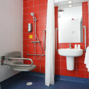 Accessible bathroom with shower seat