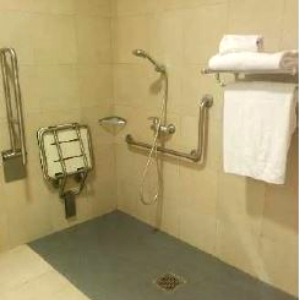 Accessible bathroom with showerseat