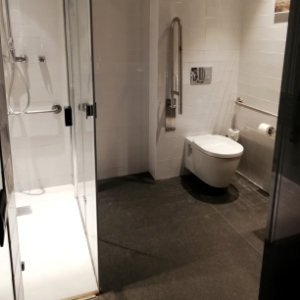 Accessible toilet and shower city center hotel