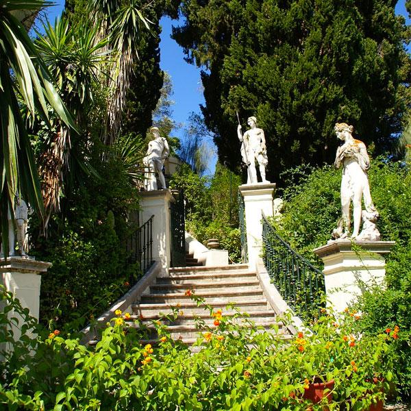 Achilleion tour stairs