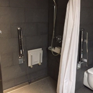 accesible shower with built-in showerseat and toilet next to it