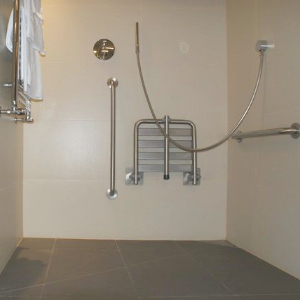 accessible shower with showerseat