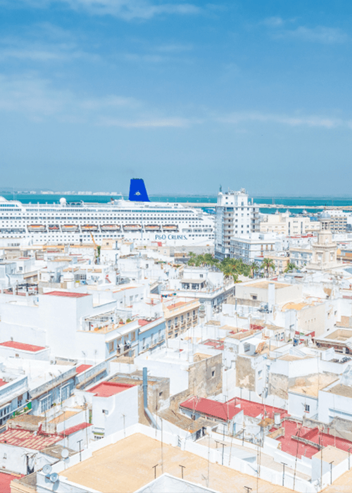 Cadiz View Cruise Ship and City