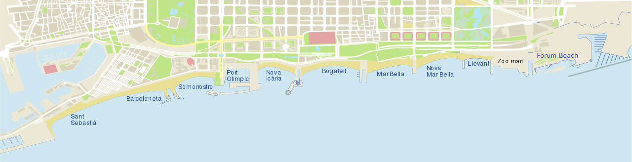 Map Barcelona Beaches