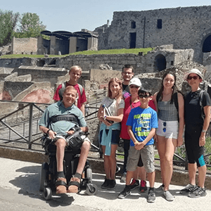 Family visiting Pompeii