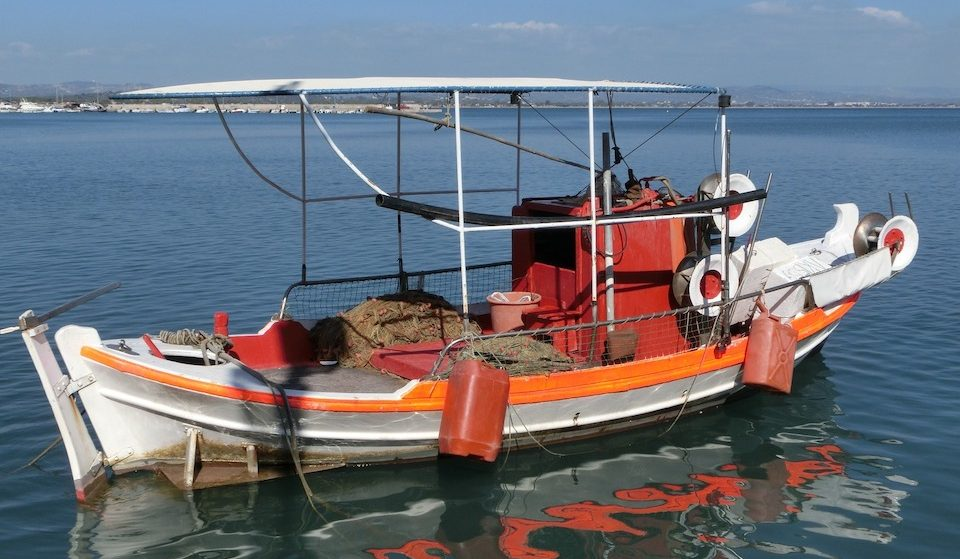 Traditional Small Fishing Boat near Katakolon Greece