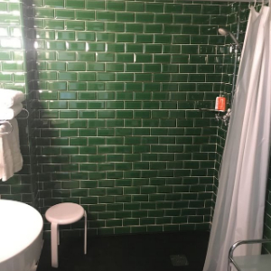 accessible shower with seat