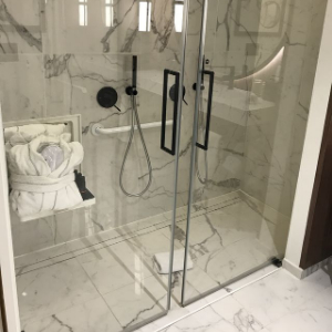 accessible shower in marble