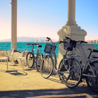 Malaga bikes and ocean view