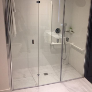 close-up accessible shower