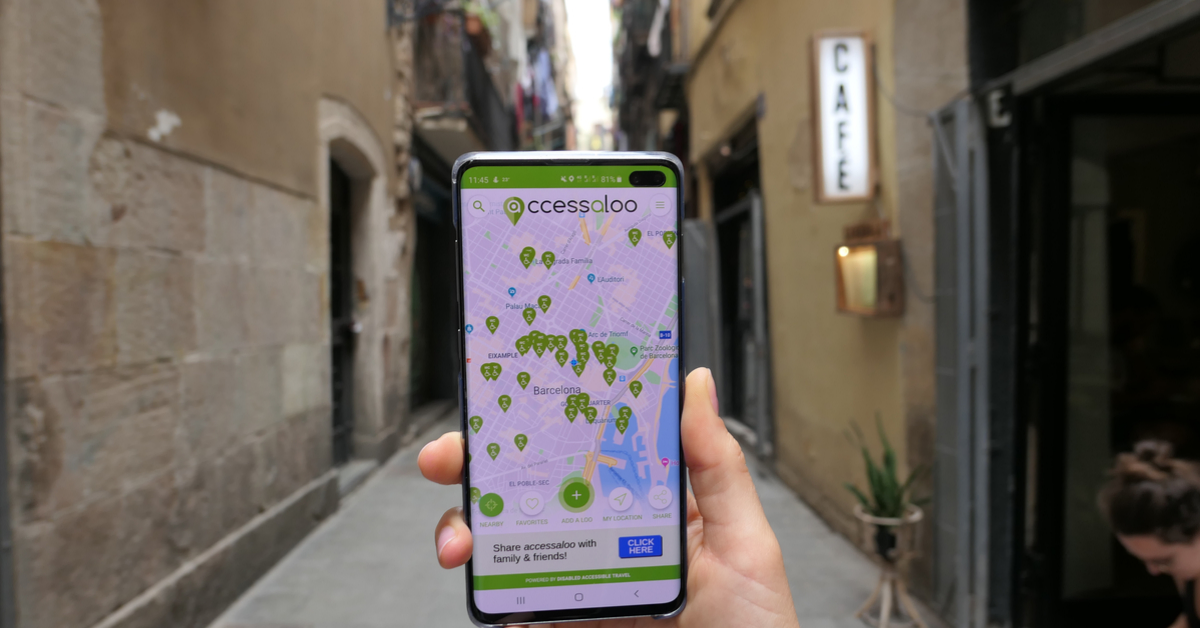 accessaloo app in streets of Barcelona