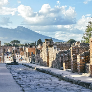 Remains of the streets in Pompeii