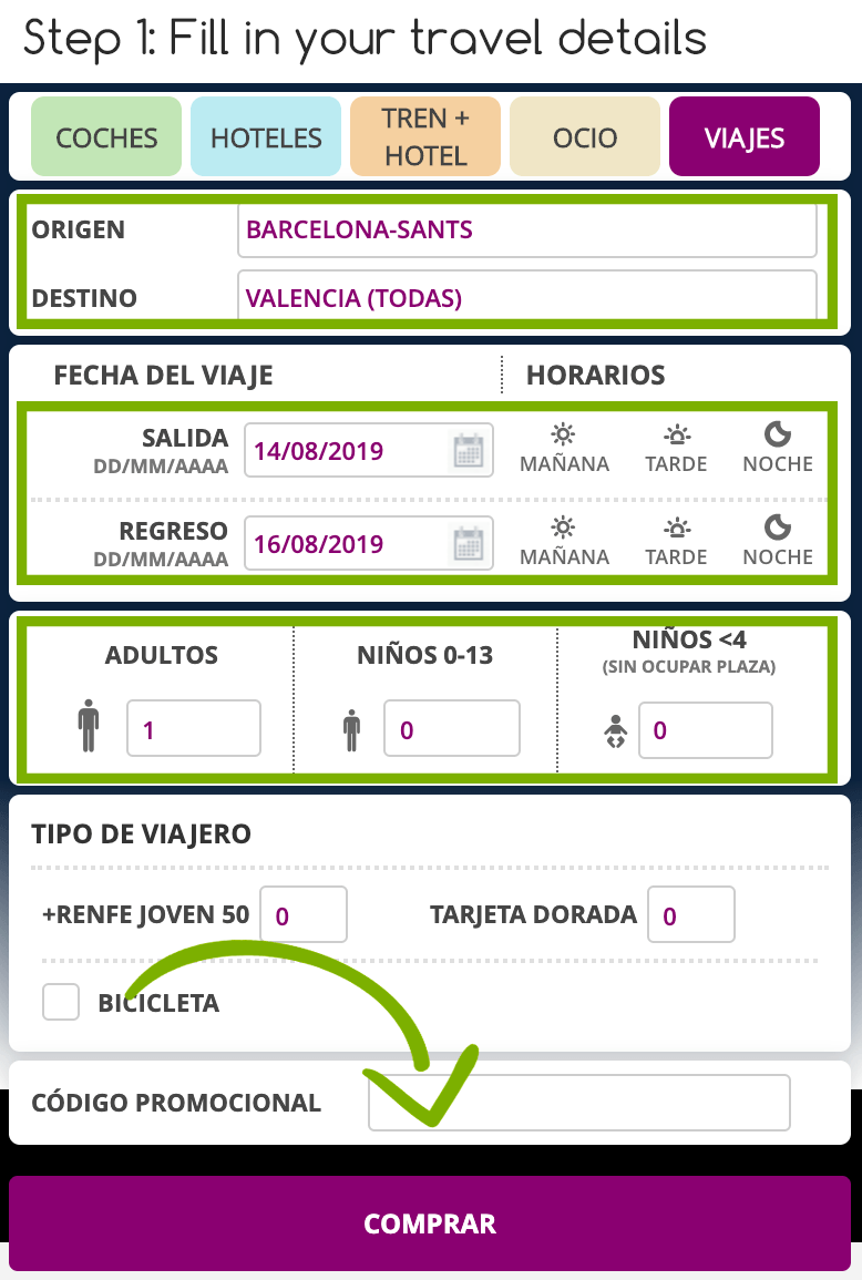 Step 1 buying your own Renfe Tickets