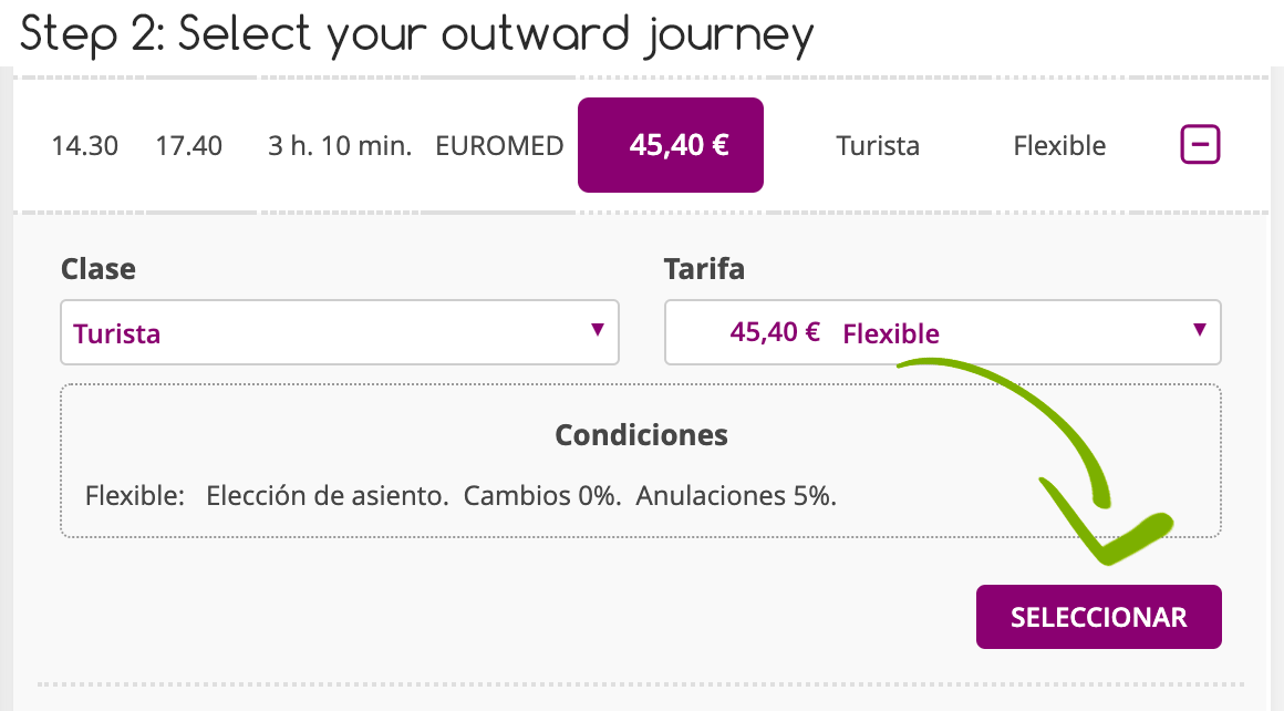 Step 2 buying your own Renfe Tickets