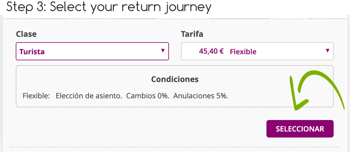 Step 3 buying your own Renfe Tickets
