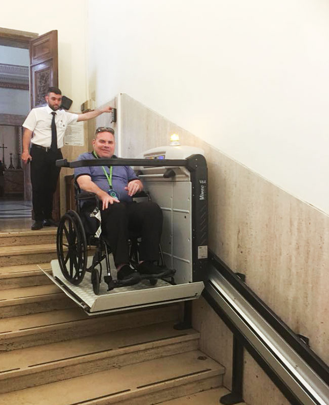 Sistine Chapel Wheelchair Lift With person