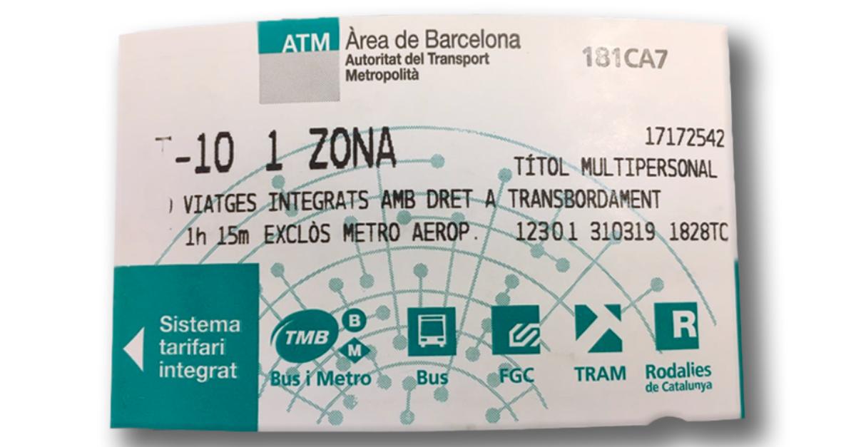 T-10 Ticket Metro Barcelona