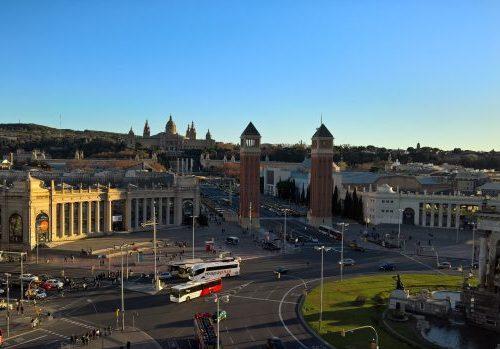 View of Plaza de Espana from Arenas de Barcelona