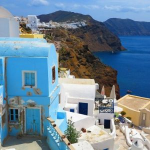 greece buildings and water