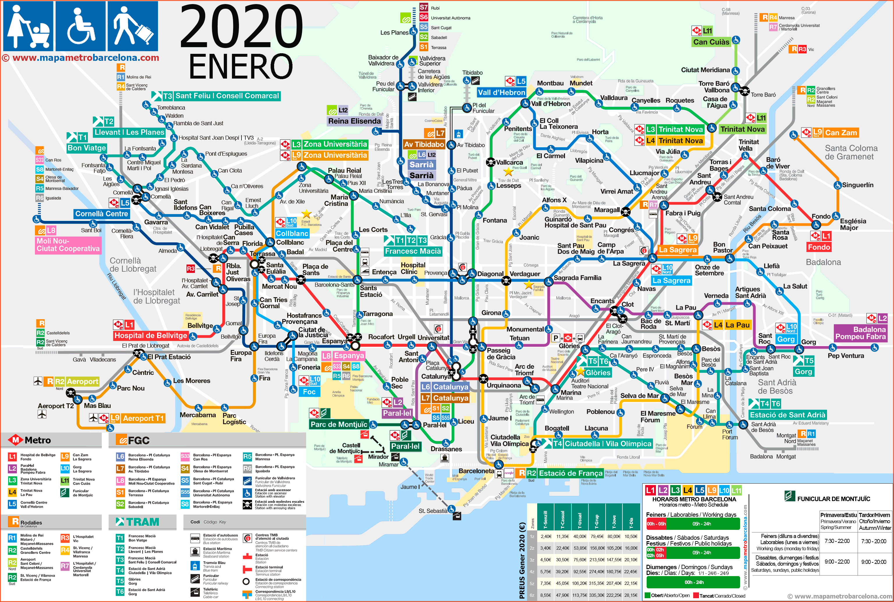 Barcelona Accessible Metro Map 2019